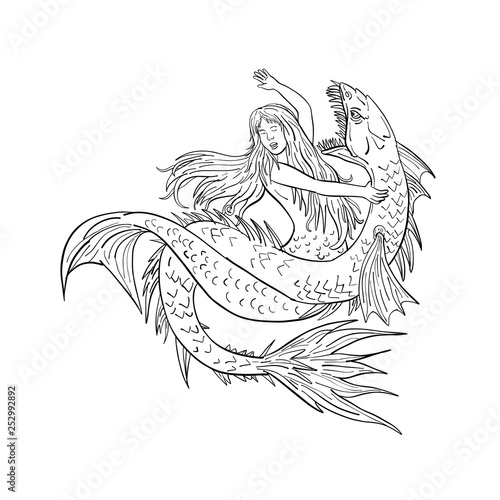 Drawing sketch style illustration of a a mermaid or siren