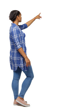Side view of a black African-American woman in a shirt pointing upwards.