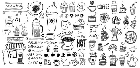 Doodle set of coffee drawings, handmade sketches.