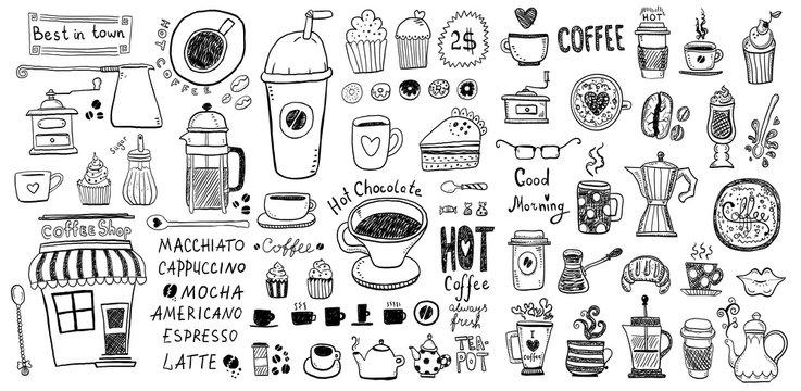 Doodle set of coffee drawings, handmade sketches.