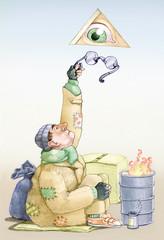 a distracted god humorous illustration onceptual draving
