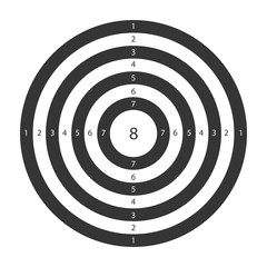 Target for shooting board with circles and numbers vector