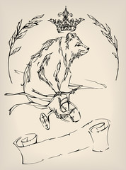 Bear On a Bicycle With Ribbons, Crown, Twigs and Scroll With Free Space For Text