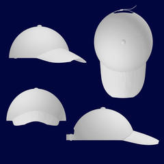 Set with white summer caps with peaks. Side, front, top, isometric view. 3D.