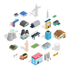 Architecture icons set. Isometric set of 25 architecture vector icons for web isolated on white background