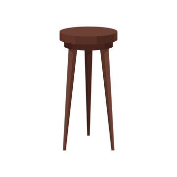 Classic wooden bar stool. High brown chair with round seat. Furniture for cafe and restaurant. Flat vector icon