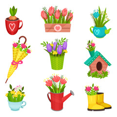 Flat vector set of spring compositions. Beautiful flowers in rubber boot, umbrella, watering can, teapot