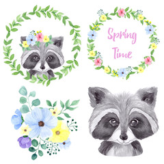 Watercolor illustration cute raccoon and spring flowers