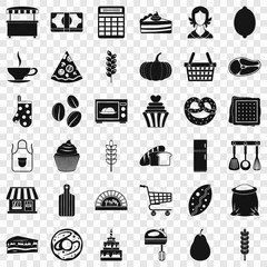 Bakery cooking icons set. Simple style of 36 bakery cooking vector icons for web for any design