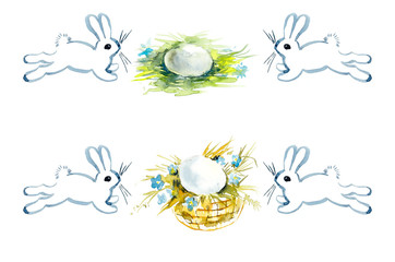 Hares and eggs. Watercolor hand drawing illustration
