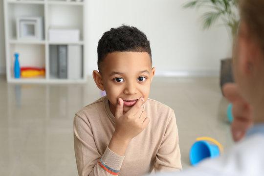 Little boy at speech therapist office