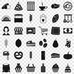 Kitchen icons set. Simple style of 36 kitchen vector icons for web for any design
