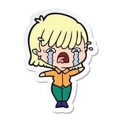 sticker of a cartoon girl crying