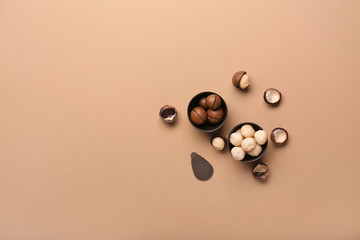Bowls with macadamia nuts on color background