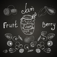 dessert, jam from different fruits and berries. It is painted chalk on a board. It can be applied in the menu for a cafe and ..