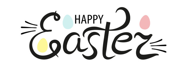 Happy Easter lettering logo decorated with eggs. Hand drawn black and white calligraphy phrase isolated on white background. Vector
