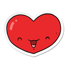 sticker of a cartoon love heart character