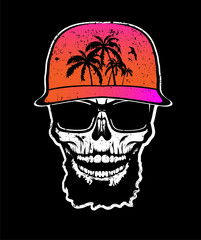 Skull with beard in orange cap and sunglasses. T-shirt print, design for youth, teenagers.