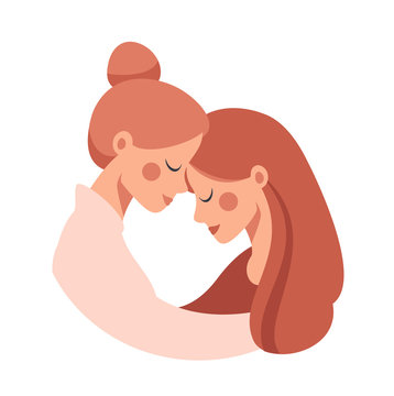 Beautiful senior mother embracing her adult cute daughter with love. Vector concept isolated from white for the Mother's Day