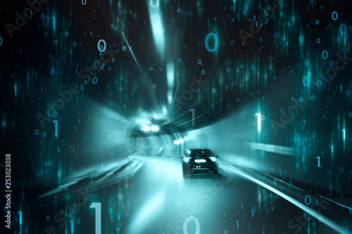 Conceptual car driving in tunnel with digital computer