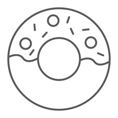 Donut thin line icon, food and sugar, cake sign, vector graphics, a linear pattern on a white background.