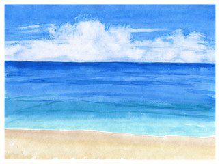 Watercolor seascape background. Sea view with sand beach