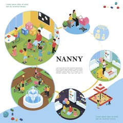 Isometric Nanny And Kids Colorful Concept