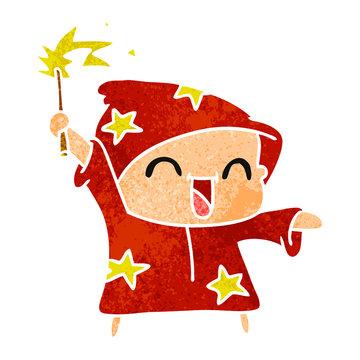 retro cartoon of a happy little wizard