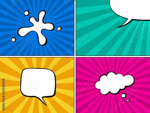 Colorful comic book background with blank white speech bubbles of
