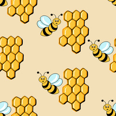 Children seamless background. Repeating texture with the image of a bee with honey. Vector illustration in cartoon style