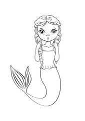 Coloring page outline of cartoon cute mermaid. Coloring book for kids. Vector illustration in cartoon style