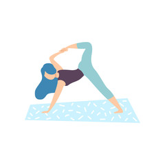 Girl Practicing Yoga Pose, Physical Workout Training Vector Illustration