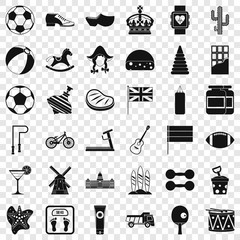 Ball icons set. Simple style of 36 ball vector icons for web for any design