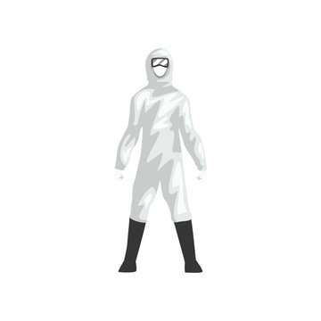Man in White Protective Suit, Professional Safety Uniform Vector Illustration