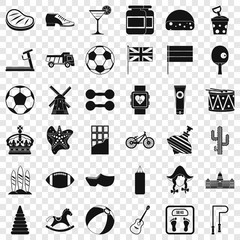 Country icons set. Simple style of 36 country vector icons for web for any design