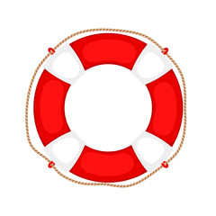 Lifebuoy on white. Life preserver rubber safety ring with rope, round lifesaver isolated, protect support insurance security equipment, vector illustration