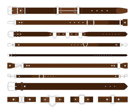 Leather belts. Brown leathers belt with metal steel buckle vector set on white, strap elegant garment and trousers fashion accessories