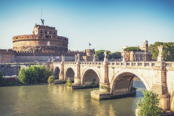 View on Castel St. Angelo in Rome, Italy. Daytime skyline. Scenic travel background.