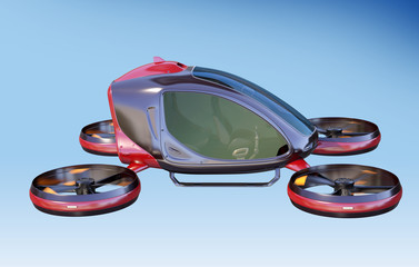Electric Passenger Drone flying in the sky