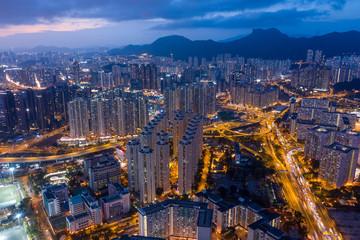 Top down view of Hong Kong Kowloon side at night