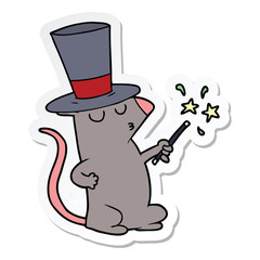 sticker of a cartoon mouse magician