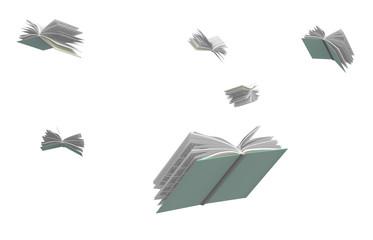 Books flying around, isolated on white background. Fototapete