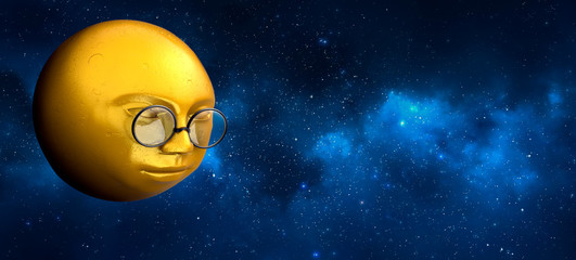 yellow moon with glasses looking down