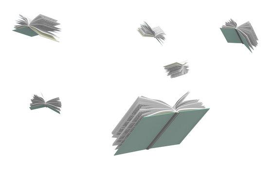 Books flying around, isolated on white background.