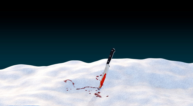 bloody knife sticking out of the snow
