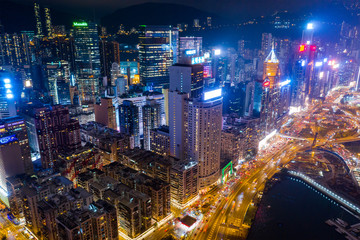 Top view of Hong Kong commerical district at night