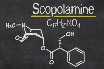 Blackboard with the chemical formula of Scopolamine