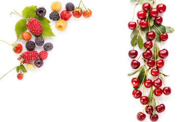 Frame of berries. Cherry, blackberry, strawberry, raspberry on white.  Food fruit summer concept. Top view, flat lay, close-up.