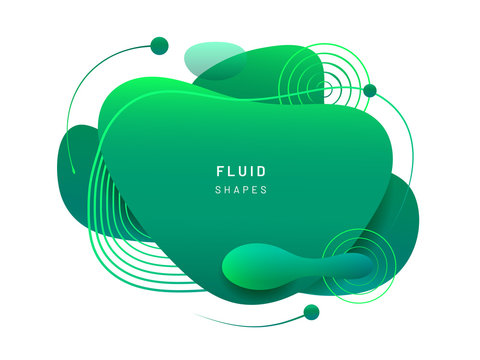 Abstract fluid blob in 3d shape. Green liquid spot for flyer or cerulean dynamical colored free forms. Blotch for card or presentation, logo background template. Modern geometric blot