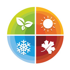 4 season icon in circle diagram chart  with leaf spring  , sun summer , snow winter and Maple leaf autumn vector design
